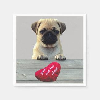 Pug Wishing Happy Valentine's day paper napkin