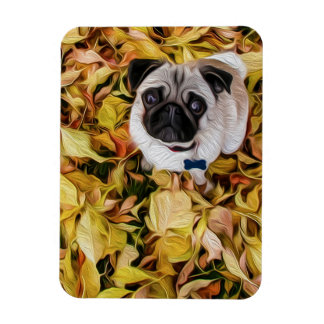 Pug with Autumn Leaves (Digital Painting) Magnet