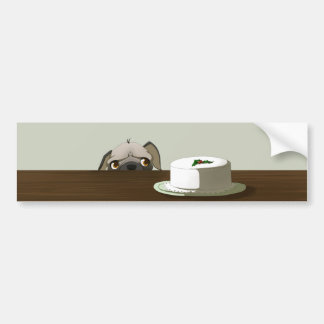Pug with Christmas cake Bumper Sticker