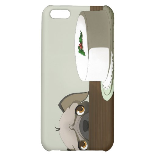 Pug with Christmas cake Case For iPhone 5C