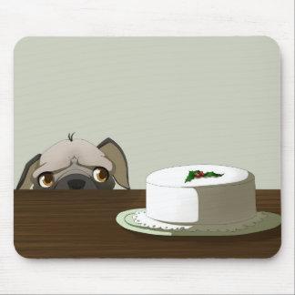 Pug with Christmas cake Mouse Pad