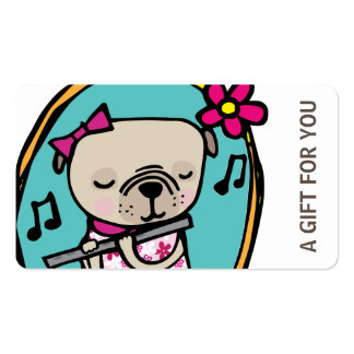 Pug with Flute Gift Card, Certificate, D10-052115 Double-Sided Standard Business Cards (Pack Of 100)
