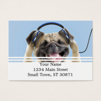 Pug with headphones,pug ,pet business card