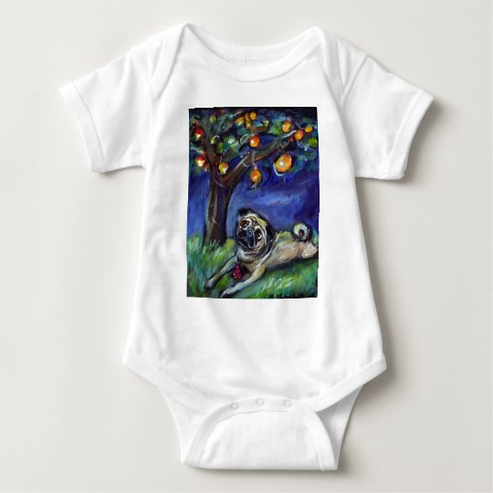 pug with kong under chinese lamp night sky baby bodysuit