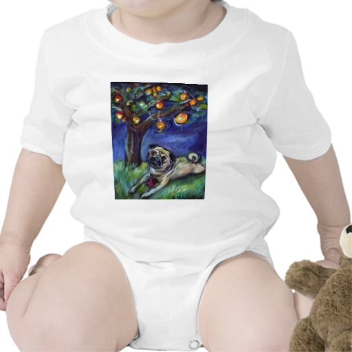 pug with kong under chinese lamp night sky tee shirt