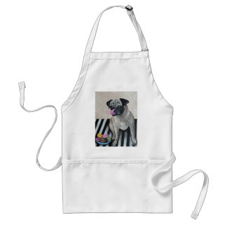 Pug with Plate of Macarons Adult Apron