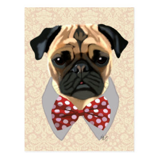 Pug with Red and White Spotty Bow Tie Postcard