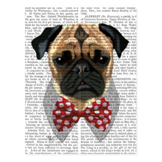 Pug with Red Spotted Bow Tie Postcard