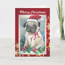 Pug with Santa Hat Christmas  Card