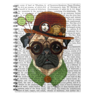 Pug with Steampunk Bowler Hat Notebook