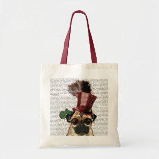 Pug with Steampunk Style Top Hat Tote Bag