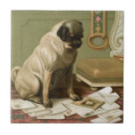 Pug with the Post Small Square Tile