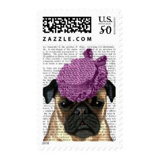 Pug with Vintage Purple Hat Postage