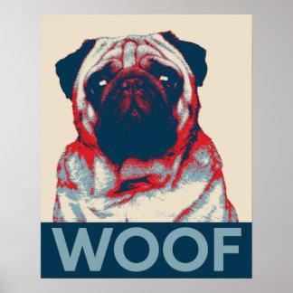 Pug Woof Retro Hope Poster