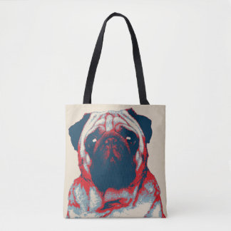 Pug Woof Retro Hope Poster Tote Bag