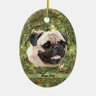 Pug Wreath Ceramic Ornament