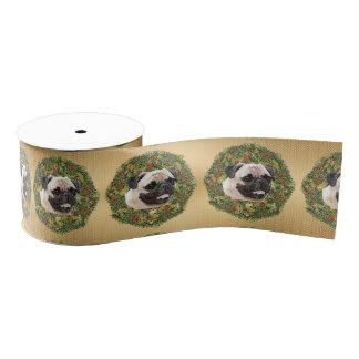 Pug Wreath Grosgrain Ribbon