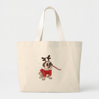 Pug Xmas Large Tote Bag