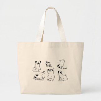 Pug Yoga Large Tote Bag