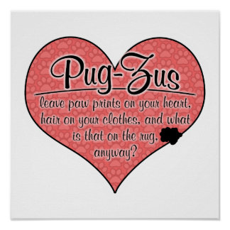 Pug-Zu Paw Prints Dog Humor Poster