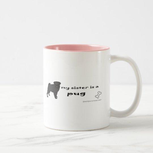 PugBlackFullBodySister Two-Tone Coffee Mug