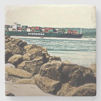 Puget Sound Cargo Ship Stone Coaster