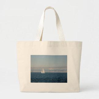 Puget Sound Sailboat and Mountain Range Large Tote Bag
