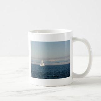 Puget Sound Sailboat and Mountain Range Coffee Mugs