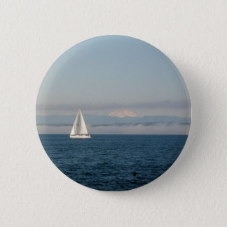 Puget Sound Sailboat and Mountain Range Pinback Button