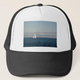 Puget Sound Sailboat and Mountain Range Trucker Hat