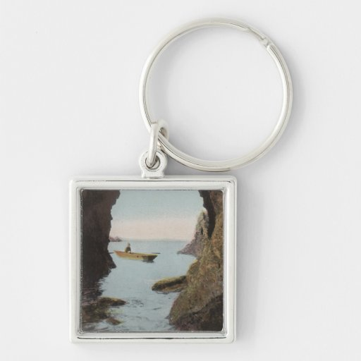 Puget Sound, WA - Cave in Deception Silver-Colored Square Keychain