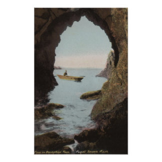Puget Sound, WA - Cave in Deception Poster