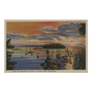 Puget Sound, WA - Yacht Club Moorings at Sunset Poster