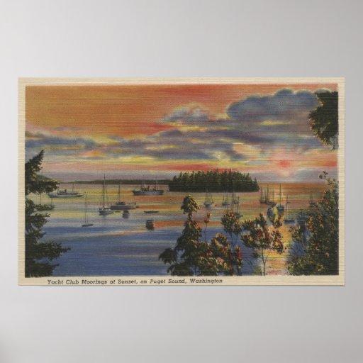 Puget Sound, WA - Yacht Club Moorings at Sunset Print