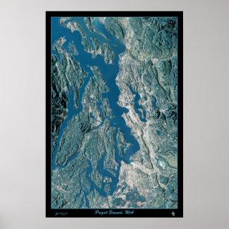Puget Sound, Washington satellite poster