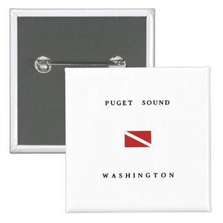 Puget Sound Washington Scuba Dive Flag 2 Inch Square Button