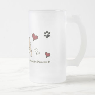 PugFawn Frosted Glass Beer Mug