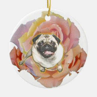 PugFlower Ceramic Ornament