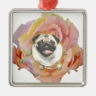 PugFlower Metal Ornament