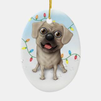 Puggle 2 - Ornamento del navidad Adorno Ovalado De Cerámica