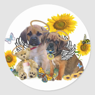 Puggle Angel Babies Classic Round Sticker