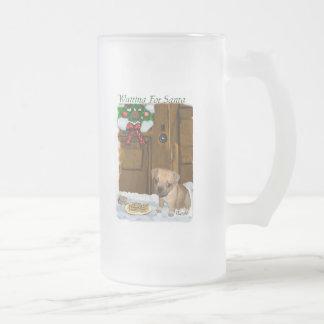 Puggle Christmas Gifts Frosted Glass Beer Mug