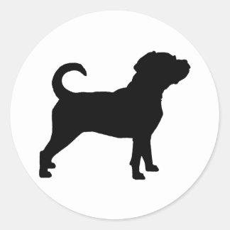 Puggle Dog Silhouette Classic Round Sticker