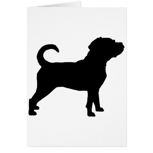 Puggle Dog Silhouette Greeting Card