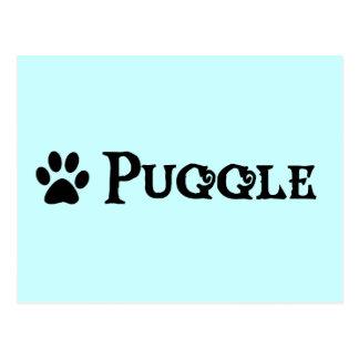Puggle estilo del pirata con el pawprint postal