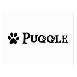 Puggle estilo del pirata con el pawprint postales