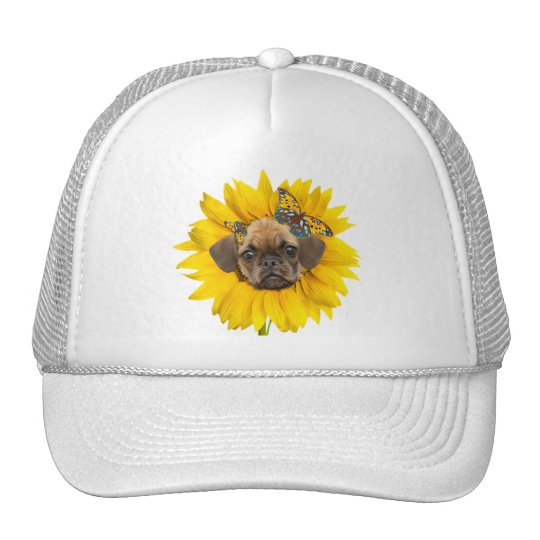 puggle face in a Sunflower apparel Trucker Hat