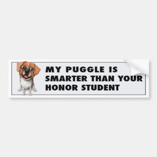 Puggle - Honor Student Bumper Sticker