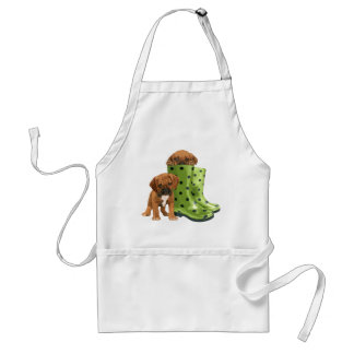 Puggle in boots adult apron