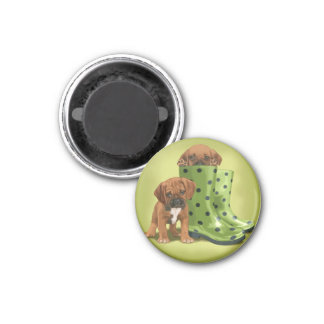 Puggle in boots 1 inch round magnet